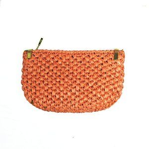 Vintage Rodo light peach woven wicker straw purse